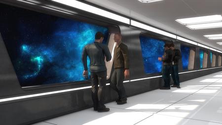 3D Render. Futuristic spaceship interior corridor
