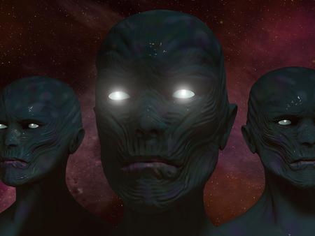 3d render alien portrait illustration Stock Photo