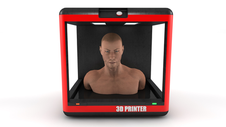 3d render and 3d printer Stock Photo