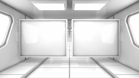 3d render. Floor, wall and lights Stock Photo