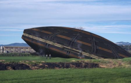 3D Render. Alien unidentified flying object