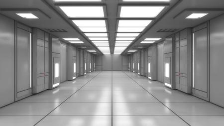 3D render. Modern interior scifi architecture