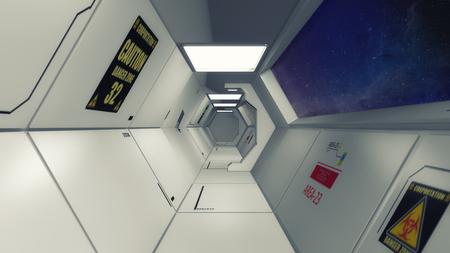 3d Render Futuristic interior environment