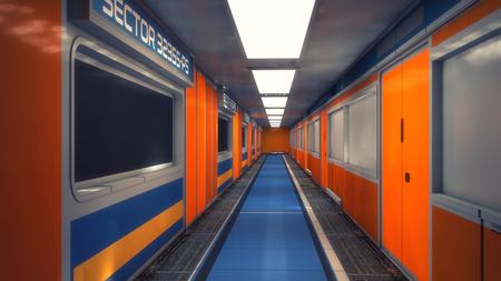 3D Rendering. Futuristic interior environment Stock Photo