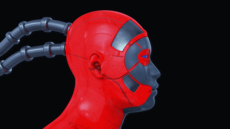 3d rendering. Humanoid head and black background
