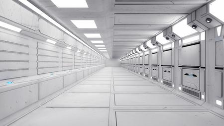 3d Render. Futuristic interior design for movie or background
