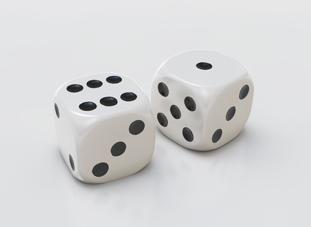 Cube dices and white background Banco de Imagens