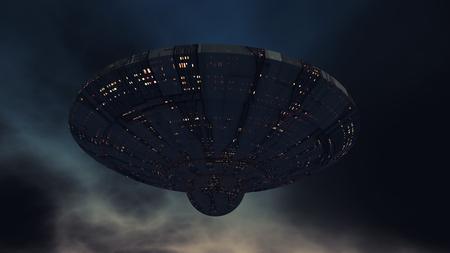3D-Rendering. Futuristisches außerirdisches Raumschiff