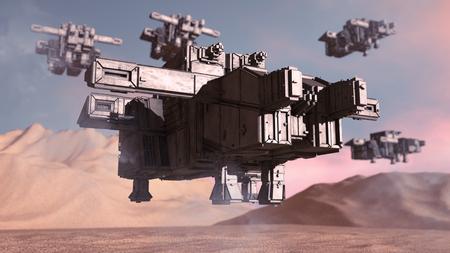 3D rendering. Futuristic alien Spaceship Stock Photo