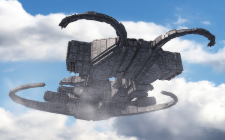 3D rendering. Futuristic alien Spaceship