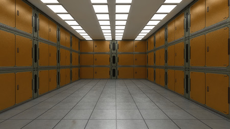 3D-Rendering. Futuristischer leerer Innenkorridor
