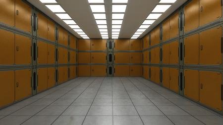 renderowania 3D. Futurystyczny pusty korytarz wewnętrzny
