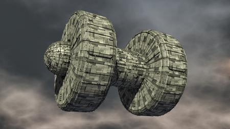 3D rendering. Futuristic alien Spaceship 版權商用圖片 - 122703828
