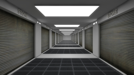 3d render. Store and warehouse corridor