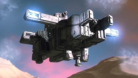 3D rendering. Futuristic alien Spaceship Imagens - 122703927