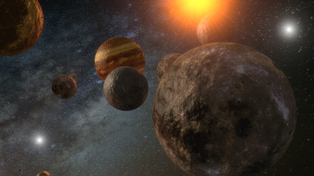 Background of galaxy and planets