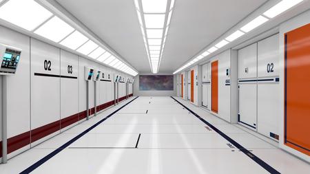 3D render Interior and futuristic architecture design
