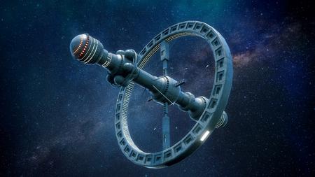 3d render. Futuristic spaceship concept
