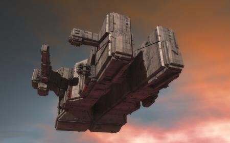 3d render. Alien spaceship concept Stock Photo