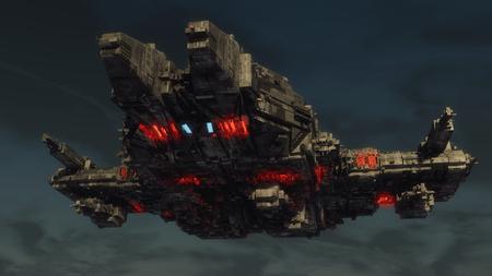 3d render. Alien spaceship concept Фото со стока