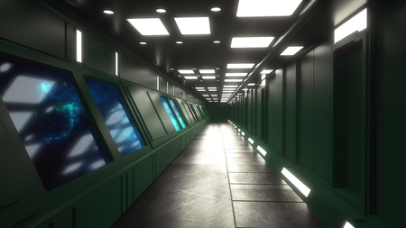 3d render. Futuristic interior concept architecture