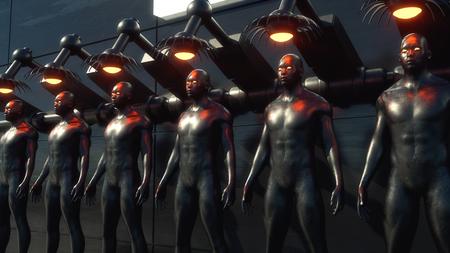 3D render. Cloning humanoid figures Banco de Imagens
