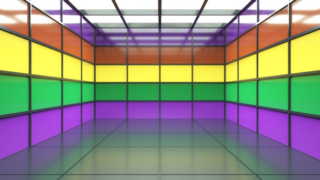 4d render. Multicolored room Stock Photo