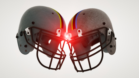 3d rendering. Two football helmets Stock Photo