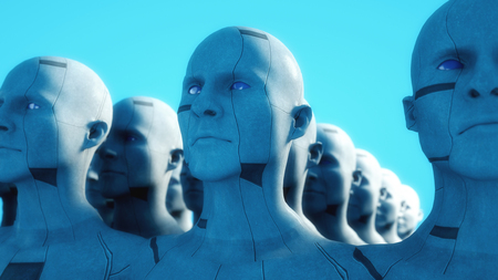 3D render. Cloning humanoid figures Stock Photo