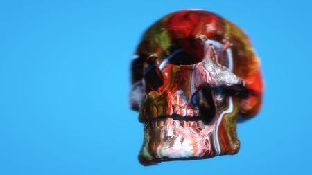 3d render Colored skull illustration