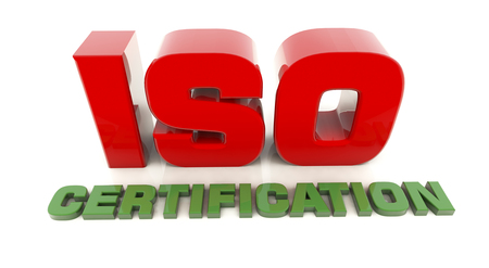 ISO 9001 3d text render Stock Photo