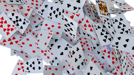 3d rendering poker cards falling