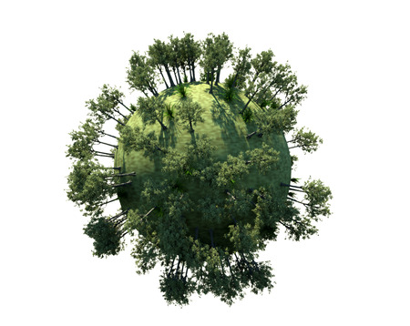 3d render Spherical planet and trees Stock Photo