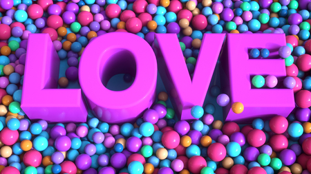 3d render. Love 3d text and balls