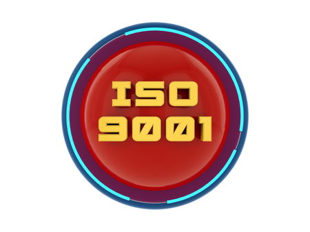 ISO 9001 3d text render Archivio Fotografico