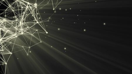 Structure 3d rendering connection and particles
