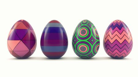 3d render. Easter eggs of different colors Banco de Imagens