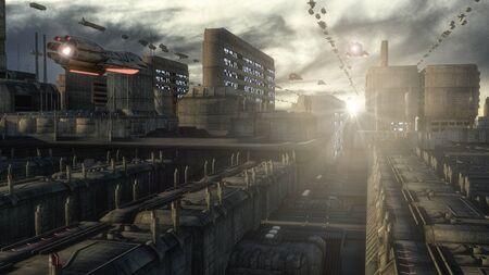 3d rendering. Futuristic city and spaceships Banco de Imagens
