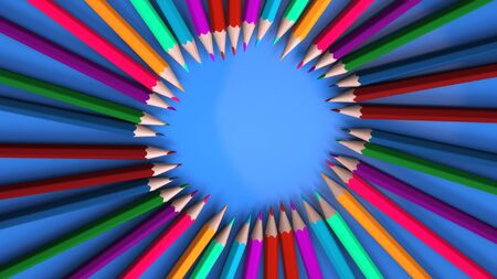 3d rendering background with pencils of different colors