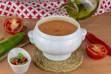 Gazpacho. Spanish style soup made from tomatoes and other vegetables and spices, served cold. Zdjęcie Seryjne