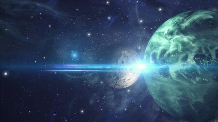 3d rendering. Meteorite crashing against planet earth Banco de Imagens - 132847134