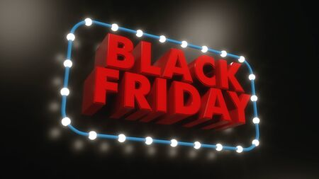 3d render black friday text background Stok Fotoğraf