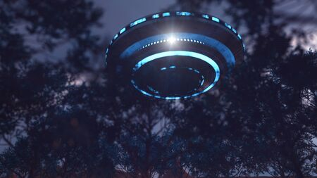 3d render. Unidentified flying object spaceship