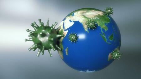 3d render. Virus and world Stock Photo