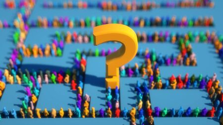 3d render. Crowd of colors and question sign Stock Photo