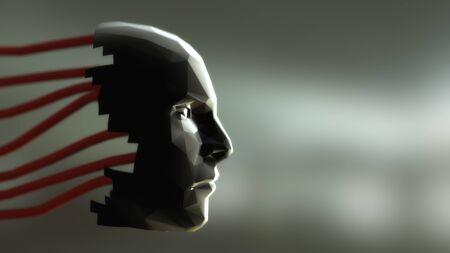 3d render. Head Human shattered portrait