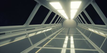 3d render. Futuristic scifi corridor