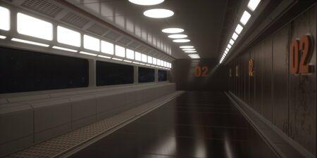 3d render. Futuristic spaceship scifi corridor architecture