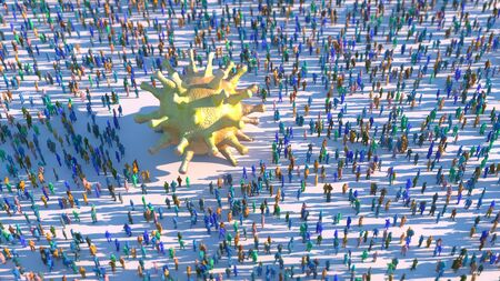 3d render people crowd connected Stock Photo
