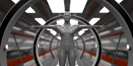 3d render. Futuristic scene and humanoid figure